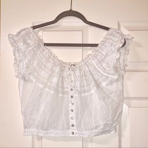 Free People - white loose shoulder - crop top